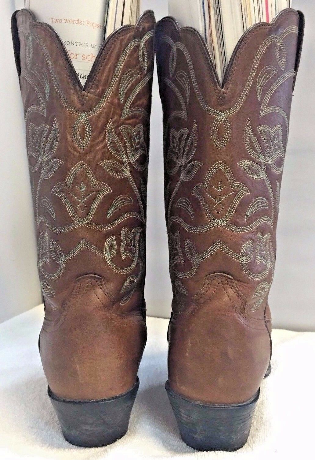 Ariat Western Cowboy Boots Womens 7B Brown Leather Horse Riding Blue Embroidered
