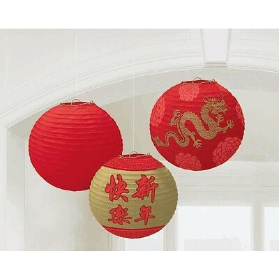 3 CHINESE NEW YEAR PARTY HANGING PAPER LANTERNS DECORATIONS ASIAN RED GOLD