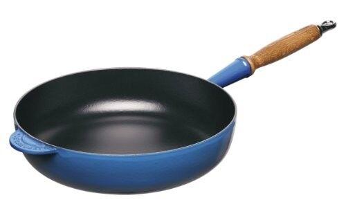 Le Creuset en fonte Saute Pan avec avec avec Femmeche en bois, 28 cm-Marseille Bleu 8b9a4e