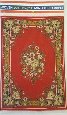 Vintage Doll House Miniature Carpet Turkish Woven Floral Rug Floor Cover D#