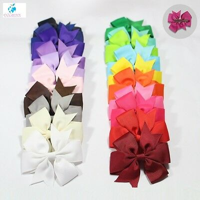 20 Pcs/lot Baby Girl Grosgrain Ribbon Boutique Hair Bows For Teens Baby Girls 4