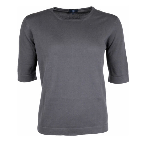 Neri Firenze round Neck Sweater Cotton Grey short Sleeve Previously
