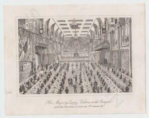 2-Kupferstiche-um-1840-Queen-Victoria-amp-Prince-Albert-Marriage-Ceremony-Banquet