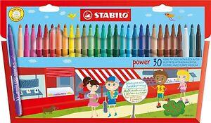 Stabilo-Power-30-Feutres-Fibre-Pointe-Stylos-En-Portefeuille-30-Varies-Couleurs