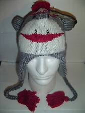 item 1 NEW SOCK MONKEY Gray WINTER FLEECE LINED KNIT HAT 1 sz Beanie Cap  YOUTH TO ADULT -NEW SOCK MONKEY Gray WINTER FLEECE LINED KNIT HAT 1 sz  Beanie Cap ... bc17e199ac34