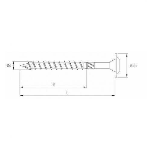 200x Spanplatten- Holzbauschraube Tellerkopf 6 x 60 Stahl galvanisch verzinkt