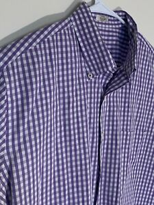 Peter-Millar-Mens-Purple-White-Plaid-Short-Sleeve-Button-Down-Shirt-Size-L