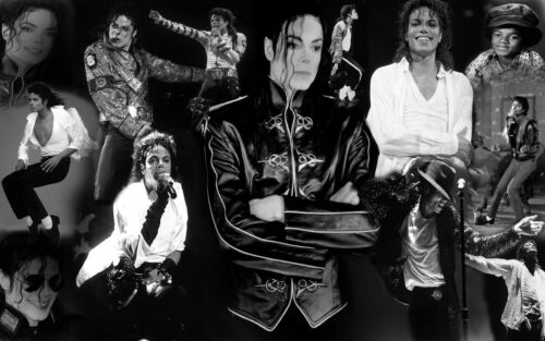 ALL SIZES MICHAEL JACKSON BLACK /& WHITE COTTON CANVAS PICTURE COLLAGE WALL ART