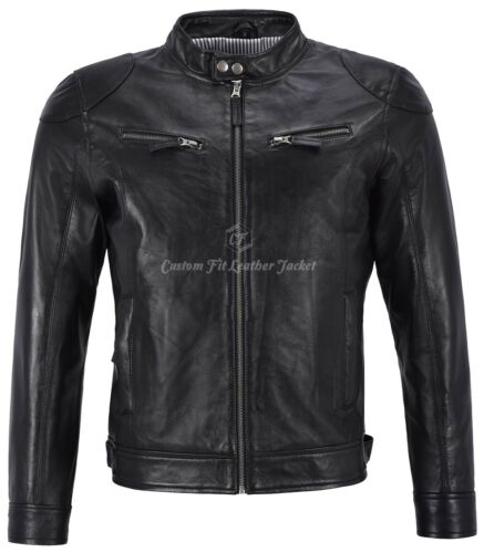 Mens Leather Jacket Black 100/% REAL NAPA Biker Style Short Length Jacket BS-1469