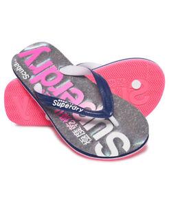 New Womens Superdry Faded Logo Scuba Flip Flops Irridescent Grey Mar