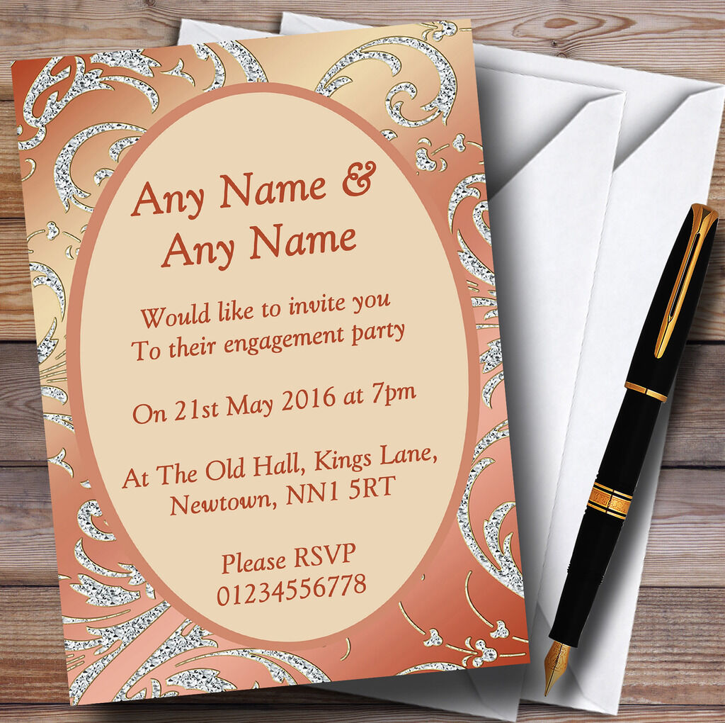 Coral Peach Cream Diamond Engagement Party Personalised Invitations