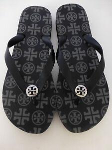 fe7dba0de610 TORY BURCH Black   Grey Flip Flop Sandals Size 9 New Without Box