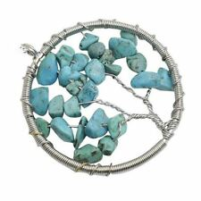 Natural Turquoise Stone Tree of Life Pendant Wire Wrapped Semi Precious Healing