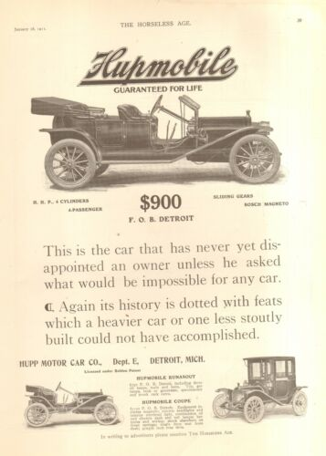 1911 HUPMOBILE ORIG VINTAGE CAR AD