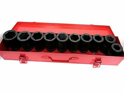 "10pc 1"" Dr Deep Impact Socket Set 24mm - 41mm Cr-mo Air Impact Gun Tz Ss033"
