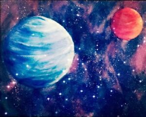 galaxy planets painting ebay