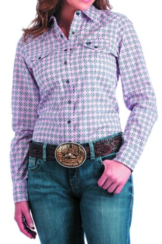 Cinch Women/'s Pink /& Navy Medallion  Snap Up Western Shirt MSW9200026