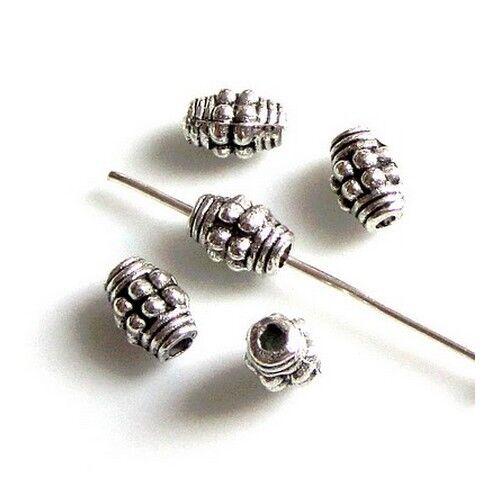 20 Intercalaires spacer /_ Métal argenté 7x5mm /_ Perles apprêts créa bijou A226 g