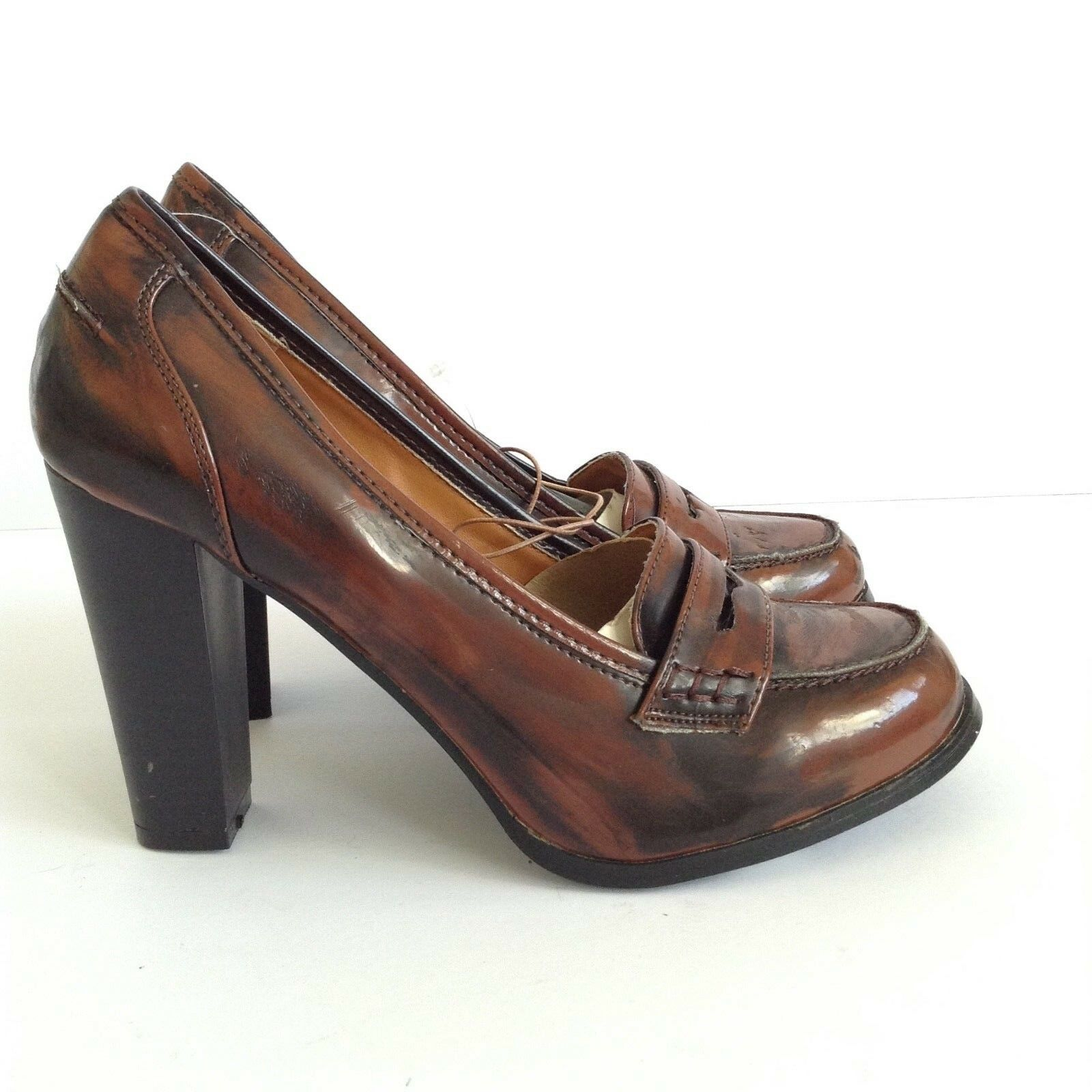 RED HERRING LADIES SANNA BLOCK PAT HI HEEL COURT SHOES SIZE 6 BROWN NEW