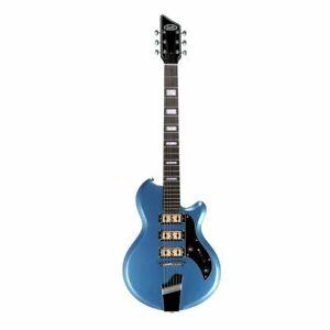 Supro Island Series Hampton Electric Guitar Metallic Blue -  Gold Foil Pickups