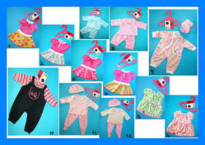BABYPUPPE Kleidung 40 - 46 cm Kleid Hose Strampler Pyjama Set Puppe Spielpuppe