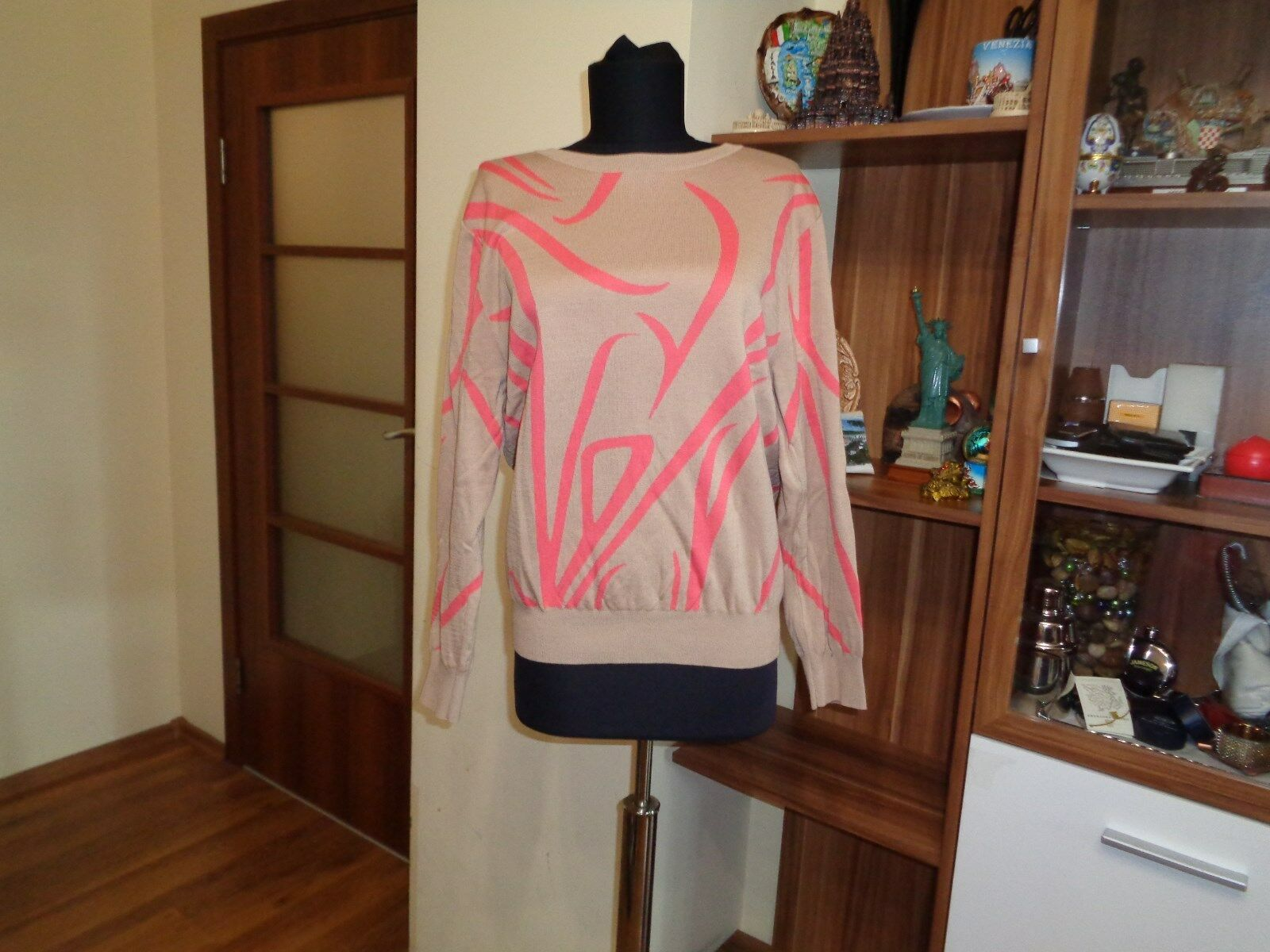 COS COTTON JACQUARD KNITTED PRINTED BEIGE AND CORAL JUMPER-SIZE M