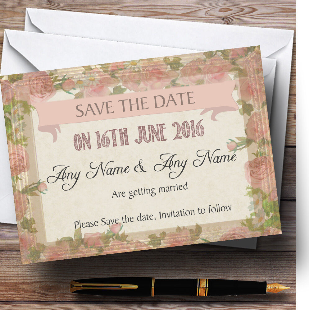 Shabby personnalisé chic rose vintage rose vieux cadre personnalisé Shabby mariage save the date cards 26ae5a