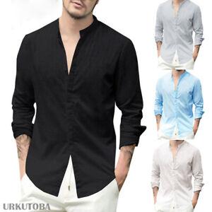 US-Men-039-s-Summer-Long-Sleeve-Beach-Shirts-Loose-V-neck-Linen-T-shirt-Tops-Tee