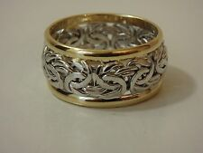 14K TWO TONE WHITE & YELLOW GOLD BYZANTINE WEDDING BAND RING NEW 3/4 WIDE SZ 5