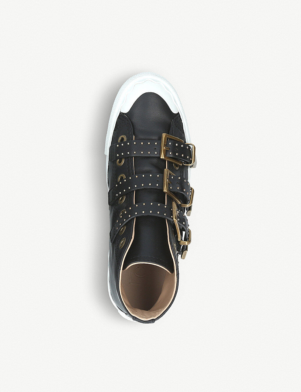 785 Chloe Kyle Susanna Studded Black Leather High Top Top Top Sneakers Ankle Boots 37 8332d0