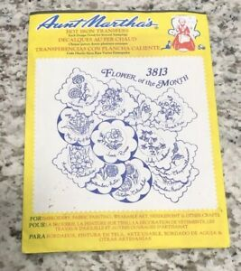 Flower-Of-The-Month-Aunt-Martha-039-s-Hot-Iron-Embroidery-Transfer-3813-Floral