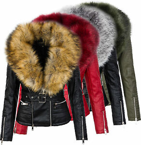 mujer-chaqueta-de-Motorista-cuero-imitacion-entretiempo-cuello-piel-d-102-NUEVO