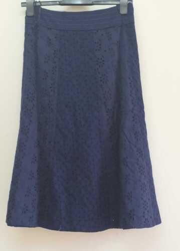 B33 Nouveau Ex m/&s Per Una Bleu Marine Broderie Jupe