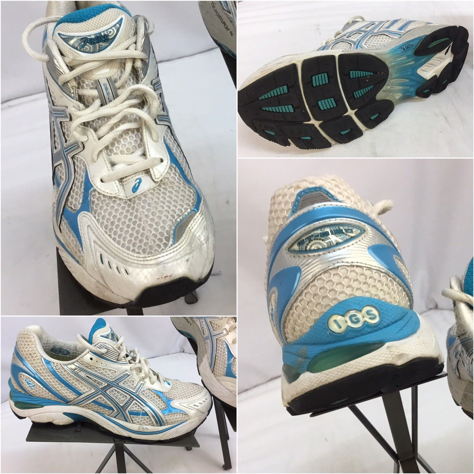 Asics Gel GT 2150 Sz 10 Women White bluee Running shoes EUC YGI G7