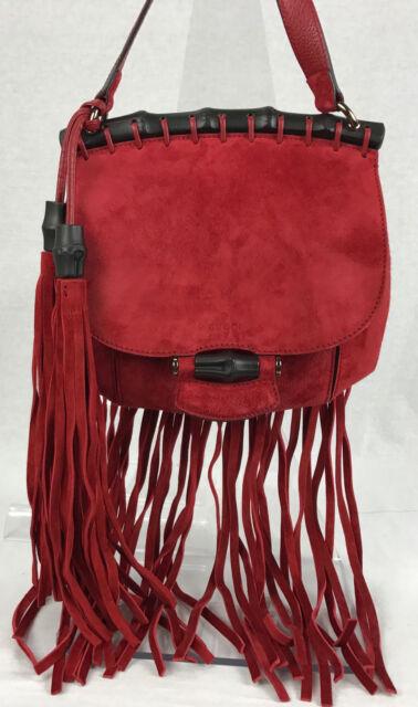 NEW Gucci Women's 347100 Red Suede Nouveau Fringe Crossbody Bag