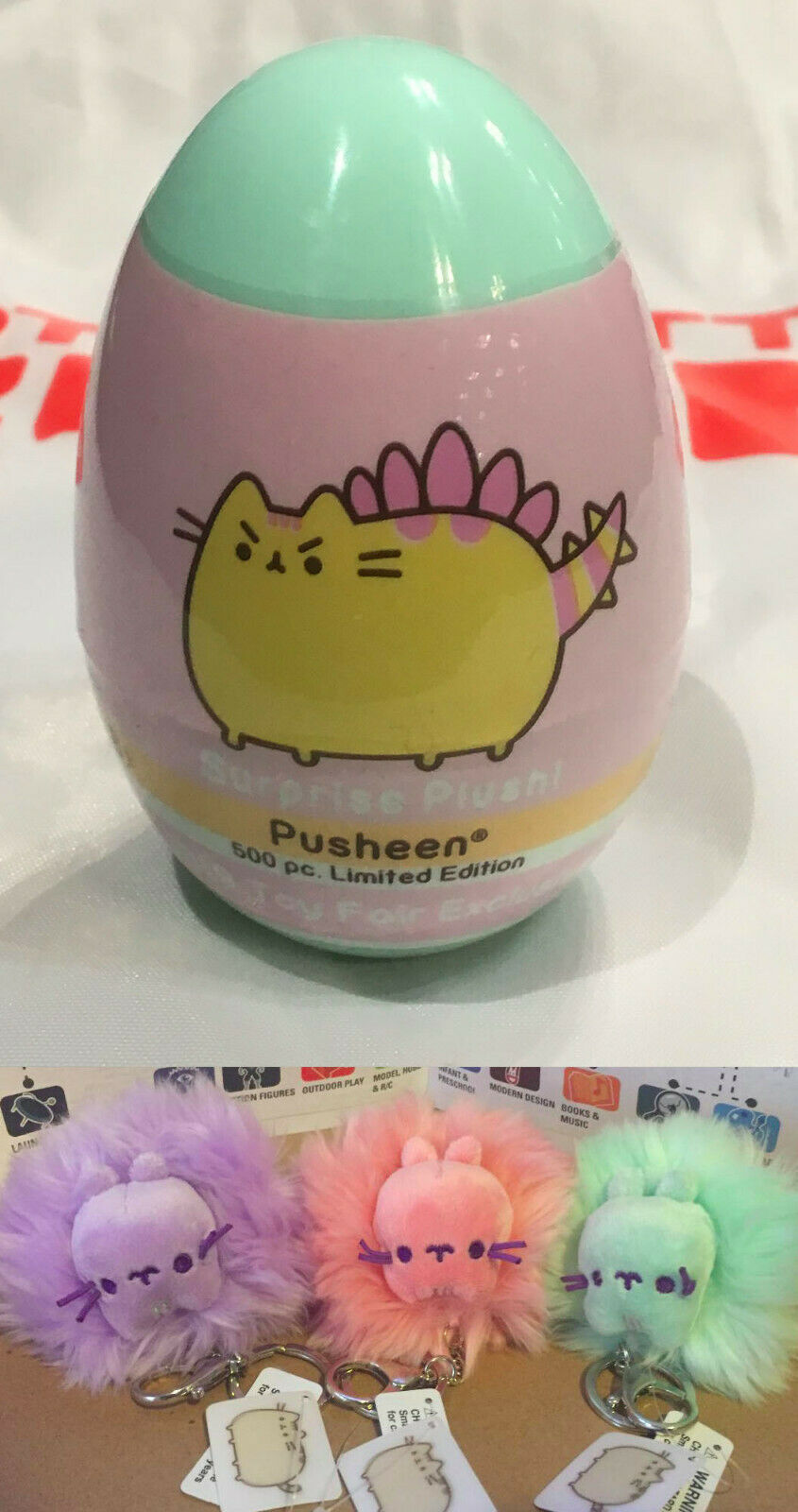NYC Toy Fair 2019 GUND Pusheen Excl.Surprise Excl.Surprise Mini Plush & 3 Keychain Set & Tote