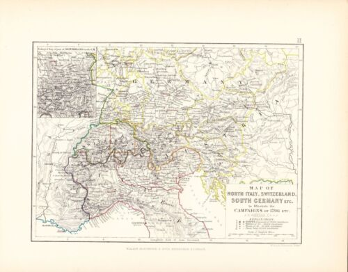 MAPBATTLE PLAN NORTH ITALY SWITZERLAND SOUTH GERMANY CAMPAIGNS 1796