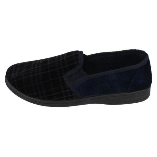 Para Hombre Punto en Azul Marino Resbalón en Zapatillas de casa MS60