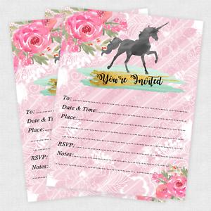 unicorn invitations girl birthday slumber party girls invitation
