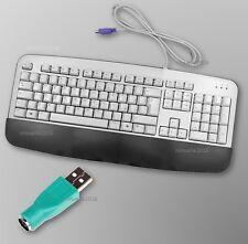 5x TASTIERA PC ERGONOMICA CON POGGIAPOLSI PS/2 WINDOWS 10 ,8,XP + ADATTATORE USB