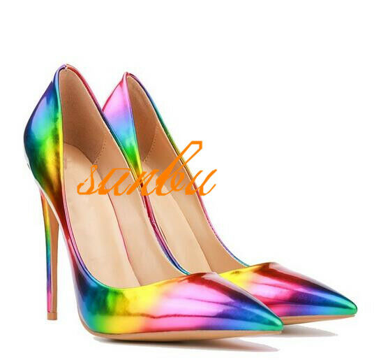 Sexy Ladies Nightclub Formal Dress shoes Pointy Toe Leather Rainbow Dating shoes