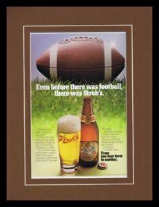 1980-Stroh-039-s-Beer-Football-Framed-11x14-ORIGINAL-Vintage-Advertisement