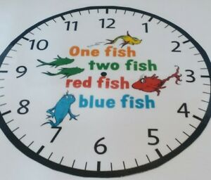 cc2dd72a DR. SEUSS 1 Fish 2 Fish Wall Clock Battery operated 9
