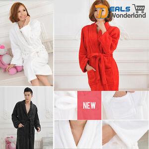Men-Women-Flannel-Warm-amp-Cozy-White-Bath-Robe-Shawl-Collar-Soft-Dressing-Gown