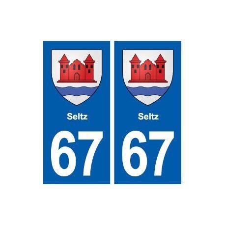 67 Seltz blason autocollant plaque stickers ville -  Angles : droits