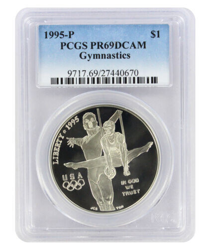 1995-P Gymnastics Olympic Silver Commemorative Dollar PR69DCAM PCGS Proof 69 DC