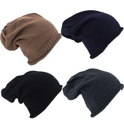 Unisexe Homme Filles Femmes Bonnet chapeau ample nervure uni