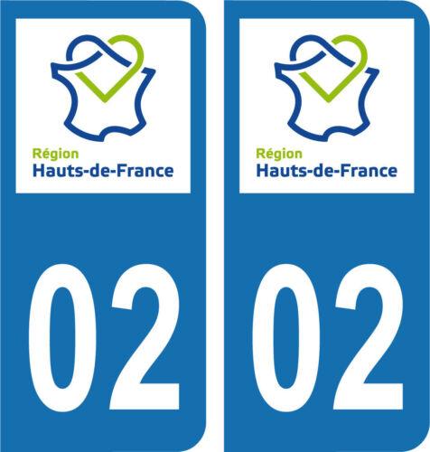 Département 02-2 autocollants style immatriculation AUTO PLAQUE HAUTS DE FRANCE