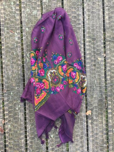 Vintage Style Floral Patterned Scarves With Tassels Cotton Russian Scarf