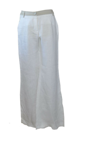 ** Maria Grazia Severi ** White Linen Trousers ** Beige Trim ** 44 ** New / Bnwt